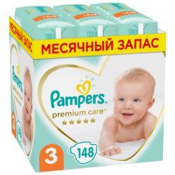 Pampers подгузники Premium Care 3 (6-10 кг) 148 шт.