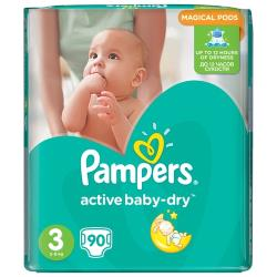 Pampers подгузники Active Baby-Dry 3 (5-9 кг) 90 шт.