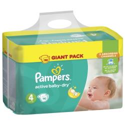 Pampers подгузники Active Baby-Dry 4 (8-14 кг) 90 шт.