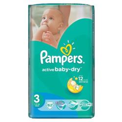 Pampers подгузники Active Baby-Dry 3 (4-9 кг) 62 шт.