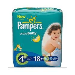 Pampers подгузники Active Baby 4+ (9-16 кг) 18 шт.