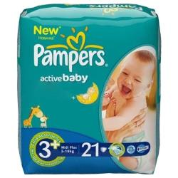 Pampers подгузники Active Baby 3+ (5-10 кг) 21 шт.